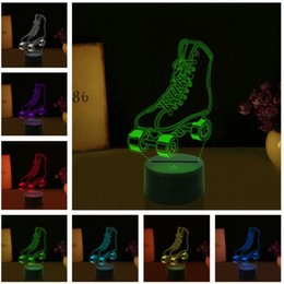 skate light NZ - 2019 New 3D Roller Skates 7 Color Gradient Dimming Led Night Light Child Kids Table Room Lampe Decor Baby Sleeping Xmas Thanksgiving Gifts