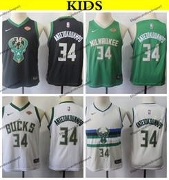 1ded2fedc6a 2019 Kids Milwaukee  34 Bucks Giannis Antetokounmpo Basketball Jerseys  Youth Giannis Antetokounmpo Green Black White Stitched Shirts S-XL