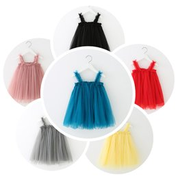 American Girl Summer Cloth Canada - Girls Sling Dress New Summer Style Children Lace Solid Princess Dress Clothes Toddler Tutu skirts For Baby Girl Cloth kids suspender skirt