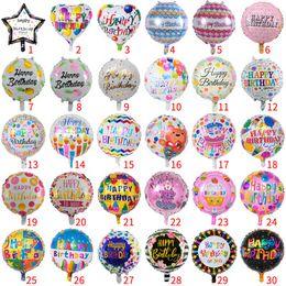 En gros 50 pcs 18 pouce ballon anniversaire enfants jouets rond joyeux anniversaire ballon en aluminium fête d'anniversaire décoration ballon en Solde