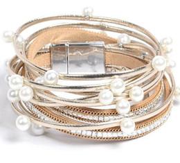 $enCountryForm.capitalKeyWord NZ - New trend multilayer pearl pu leather bracelet women set with diamond magnet buckle bracelet hot style gift