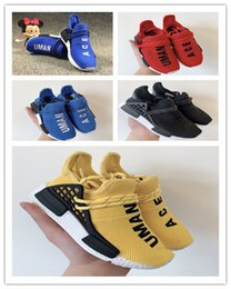 $enCountryForm.capitalKeyWord NZ - (box)2019 Human Race kids Running Shoes With Box Pharrell Williams Sample Yellow Core Black Sport Trainer running shoes 26-35