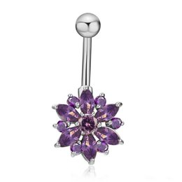 bar belly button rings UK - Bulk Lots 5 Colors Daisy Shape Gold Silver 316L Stainless Steel Jewelry Navel Bars Silver Belly Button Ring Navel Body Piercing Jewelry