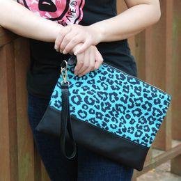 Wristlet Cosmetic Bag Australia - Canvas Turquoise Leopard Clutch Wholesale Blanks Blue Leopard Handbag Women Cheetah Wristlet Travel Bag Gift Cosmetic Bag DOM1061249