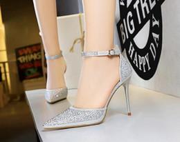 $enCountryForm.capitalKeyWord Australia - OL Lady sequins stiletto high heels wedding shoes shallow mouth pointed hollow rhinestone women's pumps 7 colors 283-16
