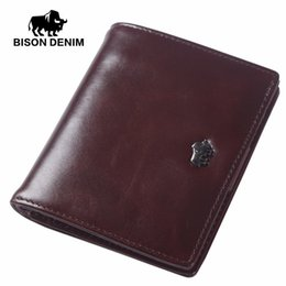 Candy Wallets Wholesale Australia - Wholesale- BISON DENIM Short Wallets For Men Genuine Leather Wallet Men Coin Pocket Card Holder Purse Mini Small Wallet Business Gift