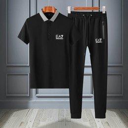 Polo Sport Pants Australia - EA7 polo pants set brand EA7 mens sports suit high quality top polos men street casual pants designer men suit luxury comfortable tee