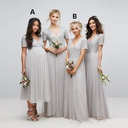 $enCountryForm.capitalKeyWord Australia - Bridesmaid Dresses 2018 Sparkly Country Long For Weddings V Neck Silver Sequins Short Sleeves Long Tulle Maternity Beads Maid of Honor Gowns