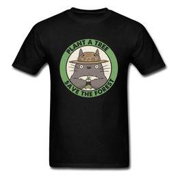 Tee Tree Australia - Plant A Tree Save The Forest T-shirt Men Black T Shirt Neighbor Totoro Tops Anime Tshirt Printed Clothing Vintage Tees