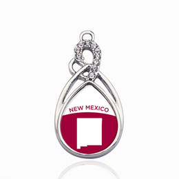 Discount mexico silver jewelry New Mexico Outline Circle Charm Charms DIY Jewelry Necklace Bracelets Choker Making Handmade
