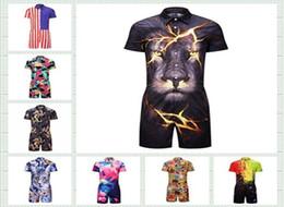 $enCountryForm.capitalKeyWord NZ - Hot Plus size 3XL 3D Galaxy Anime animal Tiger Print men dress Dress Runaway Men's Casual Shirts Onesies Pyjamas Jumpsuits 5pcs lot