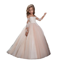 Wholesale 2019 Cheap Blush Pink Long Sleeves Flower Girls Dresses For Weddings Lace Appliques Ball Gown Birthday Girl Communion Pageant Gowns
