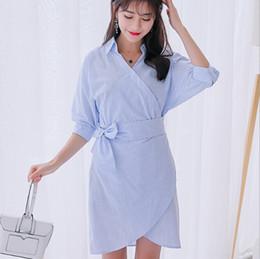 50eae65a93 Spring autumn dress women clothing cute mid sleeve dresses Korean blue  white stripe dress fashion bodycon dress Vestidos