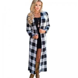 Wholesale ladies white trench coat for sale - Group buy Women Plaid coat Lady long Cardigan tops causual long sleeve V neck jackets Outwear plaid Trench Coats GGA1551