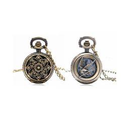 Watch Bracelet Size UK - Good Hollow Pocket Watch Small Size Cute Retro Beautiful Flowers or Bird Pendant Necklace Bracelet Pocket Watch