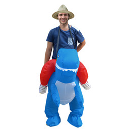 $enCountryForm.capitalKeyWord Australia - Cute Dress Up Inflatable Dinosaur Costumes Halloween Costume for Kids Inflatable Toy Funny Carnival Party Boys Girls Cosplay Costumes Game