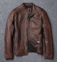 Wholesale NEW Autumn Winter Mens Motorcycle Biker Leather Jackets Stand Collar Zipper Cowhide Jackets Real Leather Motor Coat High Quality