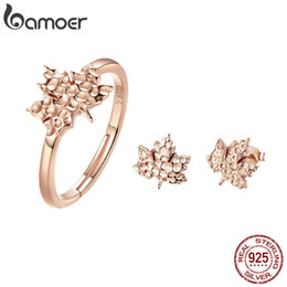 Rose Leaf Gold Plated Australia - 2PCS Jewelry Sets 925 Sterling Silver Rose Gold Plated Maple Leaves Leaf Ring Stud Earrings Fashion Fine for Women Anniversary Birthday Gift