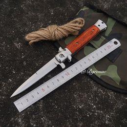 Self defenSe multifunctional online shopping - Folding Knife Wood Handle Titanium Edc Tactical Survival Pocket Hunting Knife Stainless Steel Multifunctional EDC tools