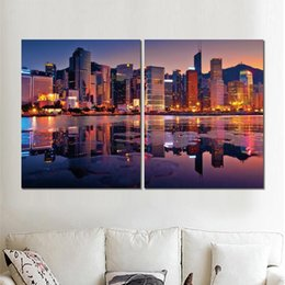$enCountryForm.capitalKeyWord NZ - 2 sets animal canvas print painting hong kong buildings bay sunset pictures for room wall decor
