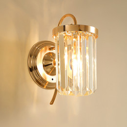 modern wall lights for hallway Canada - Modern crystal wall sconce lamp mirror lighting fixture decorative gold wall mount light led wall lighting for bedside porch hallway