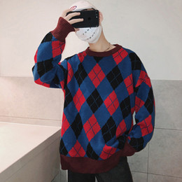 Discount korean style sweater male - Hip Hop Sweater Streetwear Male Harajuku Retro Mens Sweater Fashion Fall Loose Korean Style Man Pullover Casual Christma