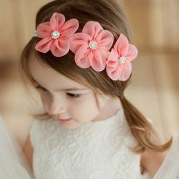 Orange Hair Accessories Australia - New Ribbon Pearl Diamond Hairband Baby Hair bands Sewing 3 Flowers Headband Kids Hair Accessories for Girls