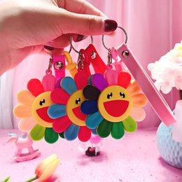 $enCountryForm.capitalKeyWord Australia - Animation Color Sunflower Key chain Silicone Smiley Face Picture Keychains Women Bag Car Cute keyring children's Toys Gift