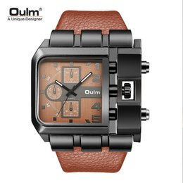 wide leather man watch NZ - OULM Brand Original Unique Design Square Men Wristwatch Wide Big Dial Casual Leather Strap Quartz Watch Male Sport Watches