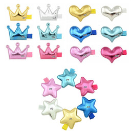 Wholesale Kids Hair Accessories Glossy Crown Heart Star Shaped Hair Clippie Toddler Little Girls Barrettes Girls Birthday Valentine Gift Botique Clips