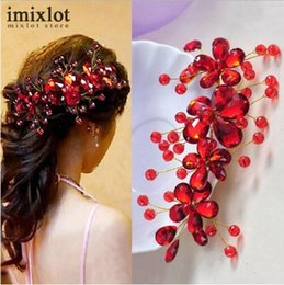 Red Hair Clips Wedding Australia - Hot Sale Red Flower Crystal Bridal Hair Accessories Bridal Hair Clip Hairpin Tiara Wedding Hair Jewelry