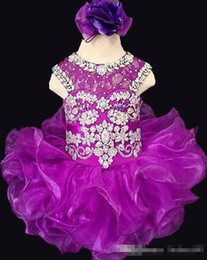 Champagne dresses for graduation online shopping - 2019 New Purple Organza Little Girls Pageant Dresses kids Flower Girls Dresses Luxury Party Dresses For Birthday Baby