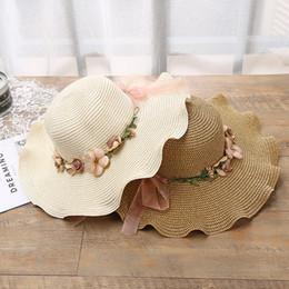 Hand Painting Beach Australia - Garland Wide Brim Hat Women's Outdoor Sunhat Holiday Straw Hat Hand-painted Lotus Hat Beach Lotus Lace Visor