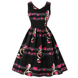 c1c6e5aa7dc Wipalo Plus Size Women Retro Vintage Heart Musical Notes Print Summer Dress Pin  Up 50s Rockabilly Swing Party Dresses Q190429
