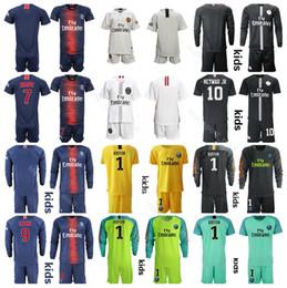 5230f43aac2 Youth 2019 Ligue 1 Soccer Paris Saint Germain DI MARIA Jersey PSG Kids  MBAPPE CAVANI SILVA Football kits Children Team Blue Custom Name