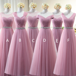 Lavender Blush Wedding Dress Australia - Blush Pink Tulle Bridesmaid Dresses with Crystal Sash 2019 Floor Length Wedding Guest Dress Lace Up