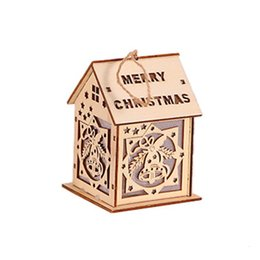 cabin lighting Australia - Christmas Tree Pendant Glowing Cabin Creative Wooden With Lights XMAS Home Office Christmas Display Landscape Layout Decoration SH190918