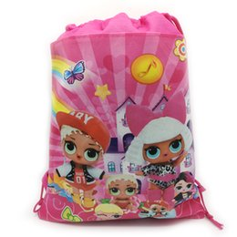1PCS Happy Birthday Surprise Girls Theme Favors Non Woven Fabric Baby Shower Party Mochila Backpack Drawstring Gifts Bags