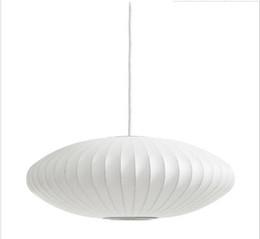 $enCountryForm.capitalKeyWord UK - Hot George Nelson Bubble Saucer Lamp E27 LED White Silk Pendant Light White Silk Flat Ball Pendant Lights Lamp White Silk hanging Lighting