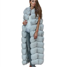 vintage vests women Australia - ZADORIN Luxury 10 Steps Women X- Long Faux Fur Vest Furry Soft Fur Jacket Plus Size Thick Warm Vintage Overcoat Streetwear