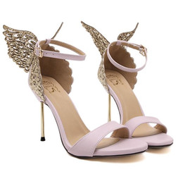 Chinese  Sophia Webster Evangeline Angel-wing High Heel Sandal New Butterfly Rhinestone Studded Leather Sandals With Fine Heel Sandals SIZE 35-40 manufacturers