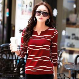 $enCountryForm.capitalKeyWord NZ - New Winter T-shirts For Women Tops Tees Long Sleeve V-neck Striped Fashion Female T-shirt Cotton T Shirt Women Poleras S19715