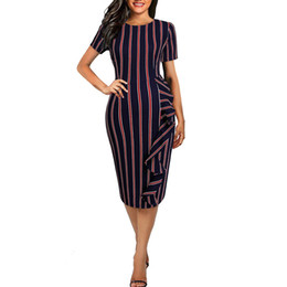 a4ffa414038 Ms. for European and American foreign trade women s sexy casual round neck  short-sleeved striped dress fashion new explosion models