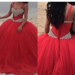 $enCountryForm.capitalKeyWord Australia - Red Cheap Long Quinceanera Dresses Bodice Corset Beading Spaghetti Prom Dresses Tulle Custom Made Sweet 16 Prom Gowns Vestidos De 15 Anos