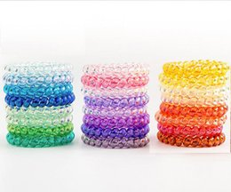 tying wire UK - 25pcs 26 colors 6.5cm High Quality Telephone Wire Cord Gum Hair Tie Girls Elastic Hair Band Ring Rope Candy Color transparent Scrunchy