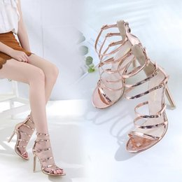 high heels slim NZ - Summer new European and American fashion ultra high heel stiletto fish mouth sandals female temperament buckle bag with slim women's shoes