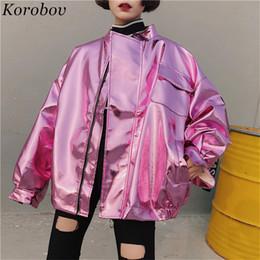 $enCountryForm.capitalKeyWord Australia - Korobov Harajuku Pockets Jacket Women Japanses O-Neck Streetwear Female Coats Auttum Casual Print Letter Jackets Outwear 76184