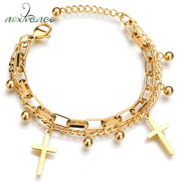 $enCountryForm.capitalKeyWord NZ - Nextvance Gold Cross Beads Charm Bracelet Adjust Length Religious Bracelets for Male Female Gift Catholic Pulseras Mujer