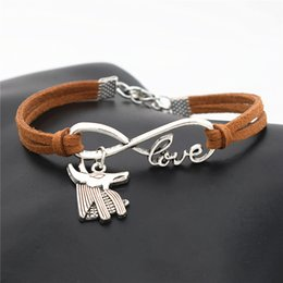 Egypt Pendants Australia - New Fashion Antique Silver Ancient Egypt Patron Saint Horse Anubis Animal Wolf Head Pendant Infinity Love Charm Brown Leather Suede Bracelet