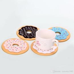 Modern Drink Coasters Australia - 4 Pcs set with box Table Cup Mat Decor Silicone Coffee Drink Placemat Tableware Spinning Retro Vinyl Donut Drinks Coasters